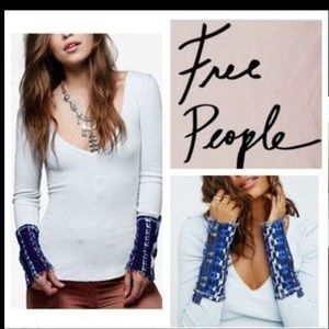 Free People Tops - Free People light blue with navy Thermal Cuff