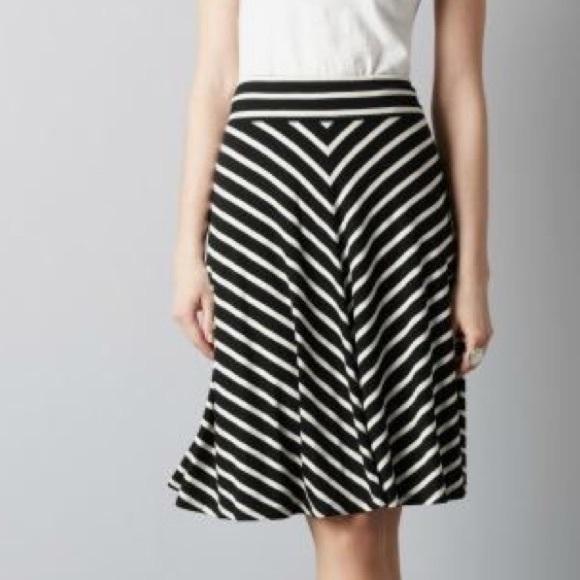 LOFT Skirts   Striped Knit Circle Skirt Black White   Poshmark