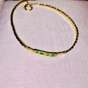 Jewelry - 14k solid yellow gold and emerald tennis bracelet