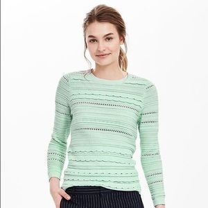 Banana Republic Scallop Stripe Pullover Sweater