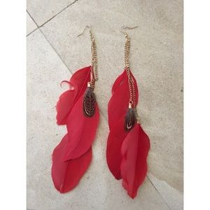 Boho Gypsy Sisters Jewelry - Boho red feather earrings