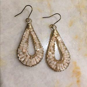 Boho gold wire pink bead earrings