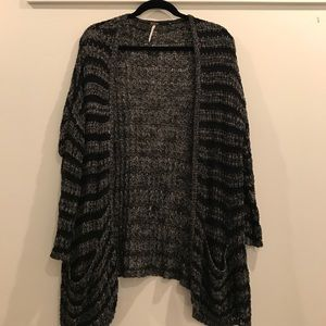 Free People knitted black and grey cardigan