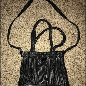 Designer black leather handbag bucket tote