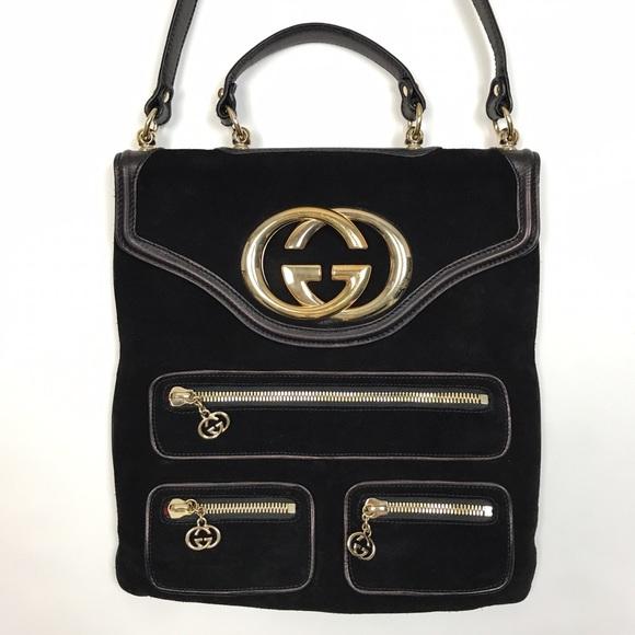 Gucci Bags   Britt Black Suede Messenger Bag   Poshmark 6adc31ce043