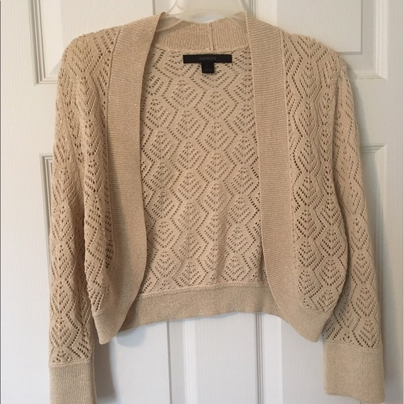 Express Sweaters Lrg Cropped Light Sweater For Summer In Tan