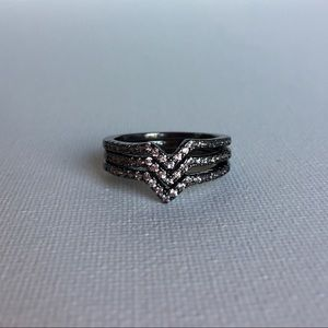 Boutique Jewelry - ONE Gunmetal Pavé Chevron Stacking Ring