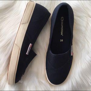 Superga Shoes - Superga Navy Slip-On Sneakers