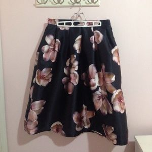 Chicwish Midi Skirt Peach Blossom Navy Pink Floral
