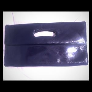 Handbags - Navy patent leather clutch