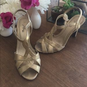 Nordstrom Shoes - Fancy gold t-strap style heels from Nordstrom