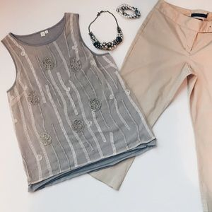 SALEE BY ELOISE, gray & tan embellished tank