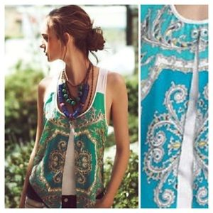 Anthropologie Tops - Anthropologie Leifnotes Parted Paisley Tank