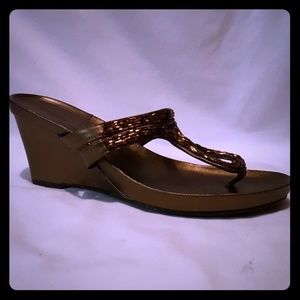 Mossimo Shoes - Bronze Copper Mossimo Beaded Wedge Sandal 7 1/2
