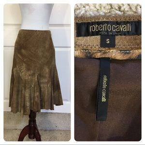 Roberto Cavalli suede skirt