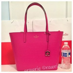 SALE New Kate Spade pink leather zip top tote