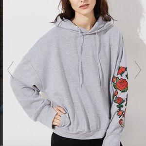 makemechic Jackets & Blazers - Grey hoodie with flowers