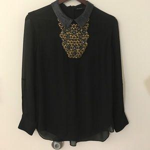 Karen Millen Tops - Karen Millen Embellished Black Blouse.