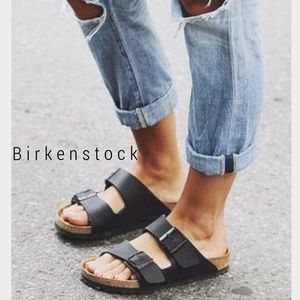 Birkenstock Shoes - Birkenstocks black leather sandals like NEW