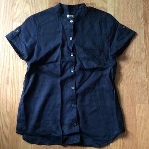 J. Jill Tops - Deep blue linen button up! Size XS. Perfect!