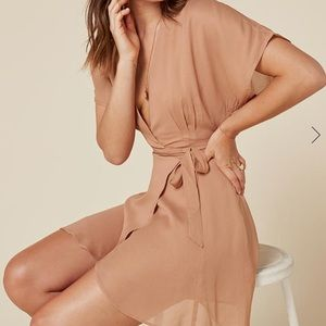 Reformation wrap dress in nude