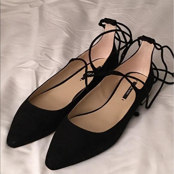 Zara Shoes | Black Tie Up Flats | Poshmark