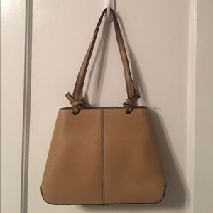Leather double handle top zip tote