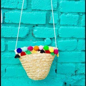 Pink Haley Handbags - Mini Straw Pom Pom Bucket bag Crossbody