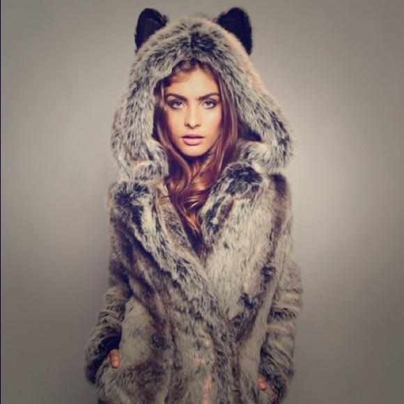057203a0373c SpiritHoods Jackets & Coats | Spirithood Classic Grey Wolf Faux Fur ...