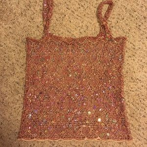 Tops - Sheer lace burgundy/gold sequin festival tank top