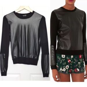 Topshop Sweaters - Topshop Black Pleather Paneled Sweater Top