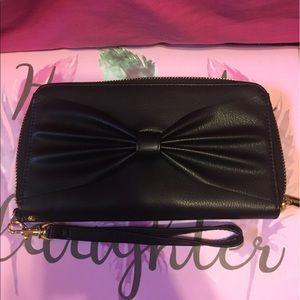 Black bow wallet