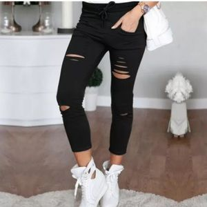 "Pants - NEW BLACK ""DISTRESSED"" LEGGINGS WITH TIE WAIST"