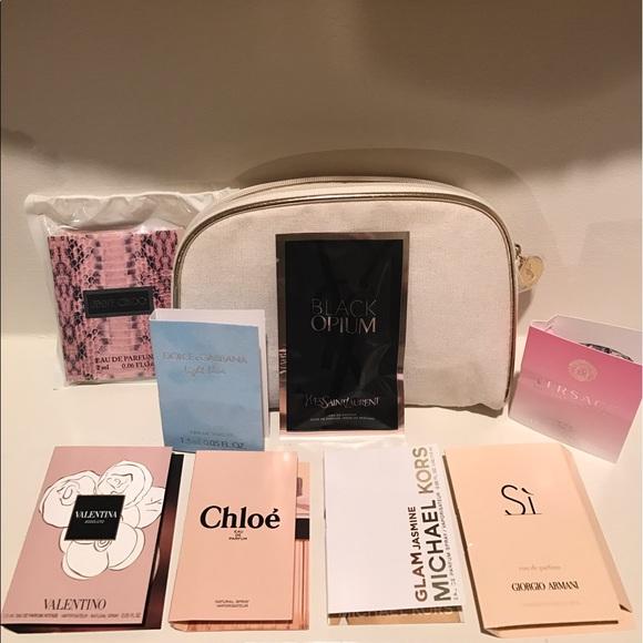 6300a5c4363b Yves Saint Laurent Perfume 9 Pc Cosmetic Bag new
