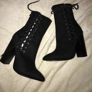Lace black booties