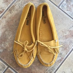 Minnetonka Shoes - Minnetonka Yellow Suede Moccasins
