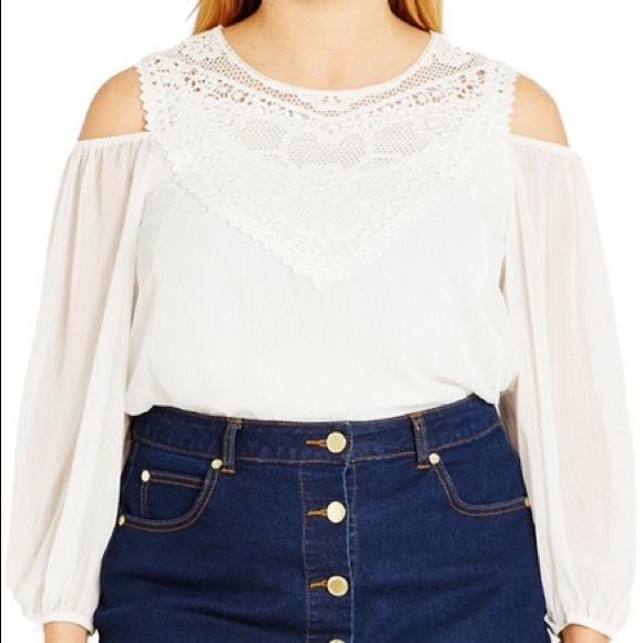 568ddfa095a6b5 NEW 22 plus size romantic ivory cold shoulder top