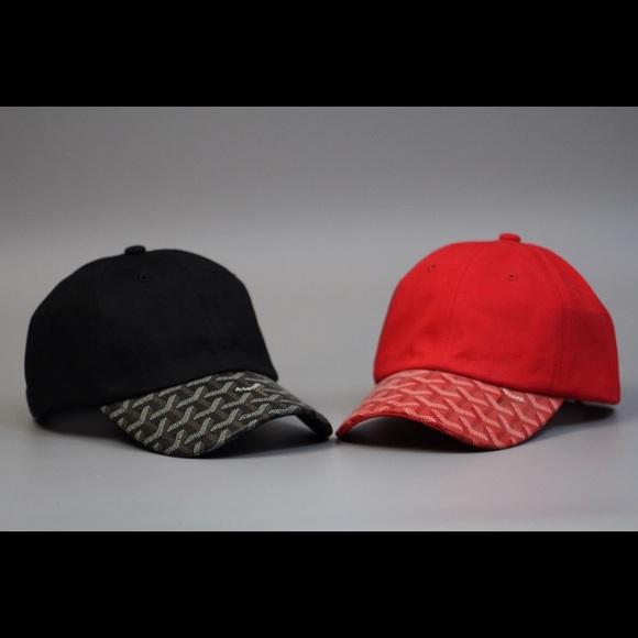 00b16b492d0 Custom Goyard Black Red Strapback Dad Hat