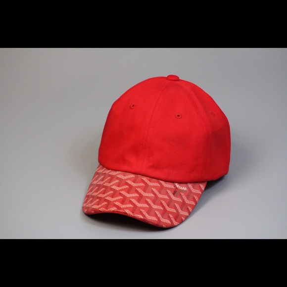 f92ba69766d Custom Goyard Black Red Strapback Dad Hat