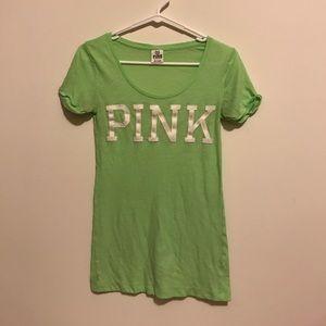 PINK Victoria's Secret Tops - Green Pink Victoria's Secret Short Sleeve Shirt