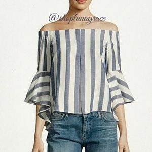 Romeo & Juliet Couture Tops - 🆕 Blue & Ivory Striped Blouse
