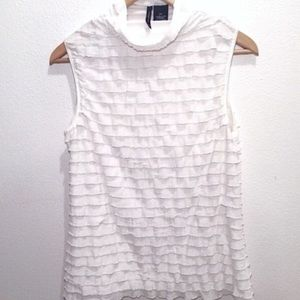 New Directions Tops - Sleeveless white ruffle top with mock turtleneck