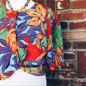 Vtg 80s Tropical Button Down Palm Leaf Blouse 16