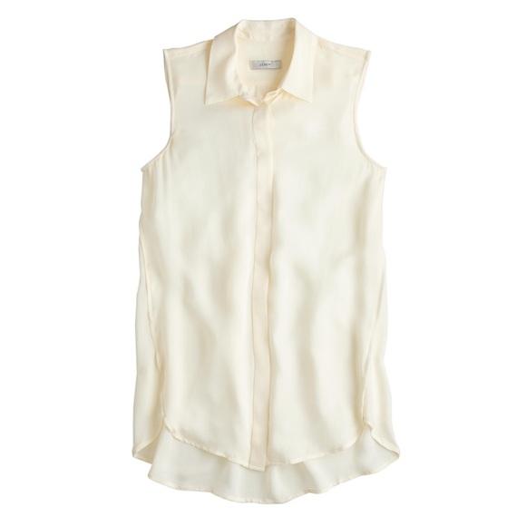 389c6f5ec25fa0 NWT J. Crew silk sleeveless blouse in warm ivory
