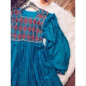 Vintage Dresses & Skirts - Vtg70s Bohemian Embellished Peasant Gypsy Dress S
