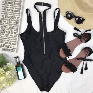 Nasty Gal Other - Black one piece swimming suit with zipper details