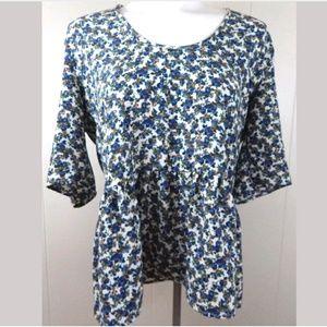 Zara Tops - Zara Woman Floral Peplum 3/4 Sleeve Open Back Top
