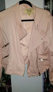Maralyn & Me Jackets & Blazers - Maralyn & Me light pink cotton moto jacket