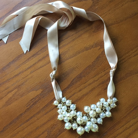 85 off jewelry long necklace with pearls and ribbon tie for Ribbon tie necklace jewelry