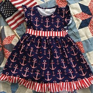 Other - ⭐️SALE⭐️ Red, White & Blue Girl's Anchor Dress ⚓️